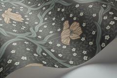 4034 cikkszámú tapéta.Virágmintás,textil hatású,retro,gyerek,különleges motívumos,rajzolt,fehér,barna,bézs-drapp,lemosható,vlies tapéta