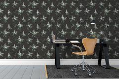 4037 cikkszámú tapéta.Textil hatású,retro,természeti mintás,különleges motívumos,rajzolt,fehér,fekete,zöld,lemosható,vlies tapéta