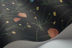 4040 cikkszámú tapéta.Virágmintás,textil hatású,gyerek,különleges motívumos,fekete,kék,piros-bordó,pink-rózsaszín,sárga,lemosható,vlies tapéta