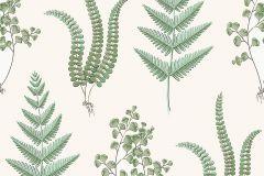 7657 cikkszámú tapéta.Retro,természeti mintás,vajszín,zöld,lemosható,vlies tapéta