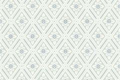 7658 cikkszámú tapéta.Geometriai mintás,kockás,retro,virágmintás,kék,szürke,lemosható,vlies tapéta