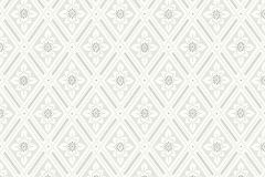 7659 cikkszámú tapéta.Geometriai mintás,kockás,retro,virágmintás,szürke,lemosható,vlies tapéta