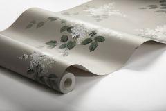 7667 cikkszámú tapéta.Virágmintás,bézs-drapp,fehér,zöld,lemosható,vlies tapéta