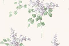 7668 cikkszámú tapéta.Virágmintás,fehér,lila,zöld,lemosható,vlies tapéta