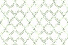 7671 cikkszámú tapéta.Barokk-klasszikus,kockás,természeti mintás,vajszín,zöld,lemosható,vlies tapéta