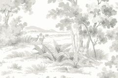 7677 cikkszámú tapéta.Tájkép,természeti mintás,állatok,barokk-klasszikus,rajzolt,retro,fehér,szürke,lemosható,vlies tapéta