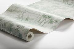7678 cikkszámú tapéta.Barokk-klasszikus,rajzolt,tájkép,természeti mintás,vajszín,zöld,lemosható,vlies tapéta