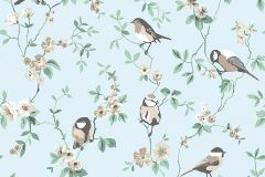 7681 cikkszámú tapéta.állatok,rajzolt,természeti mintás,virágmintás,barna,kék,zöld,lemosható,vlies tapéta