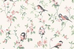 7682 cikkszámú tapéta.állatok,barokk-klasszikus,természeti mintás,virágmintás,pink-rózsaszín,vajszín,zöld,lemosható,vlies tapéta