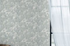 6457 cikkszámú tapéta.Absztrakt,geometriai mintás,különleges felületű,ezüst,fehér,türkiz,lemosható,vlies tapéta