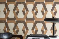 6474 cikkszámú tapéta.Absztrakt,geometriai mintás,metál-fényes,barna,gyöngyház,narancs-terrakotta,lemosható,vlies tapéta