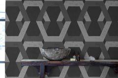 6476 cikkszámú tapéta.3d hatású,absztrakt,geometriai mintás,metál-fényes,ezüst,fekete,szürke,lemosható,vlies tapéta