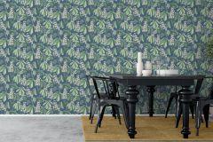 7201 cikkszámú tapéta.Különleges felületű,rajzolt,természeti mintás,virágmintás,kék,vajszín,zöld,lemosható,vlies tapéta