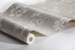 7206 cikkszámú tapéta.Különleges felületű,rajzolt,természeti mintás,virágmintás,ezüst,fehér,szürke,vajszín,lemosható,vlies tapéta