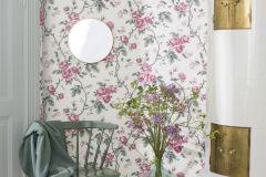7210 cikkszámú tapéta.Különleges felületű,különleges motívumos,rajzolt,virágmintás,fehér,pink-rózsaszín,szürke,zöld,lemosható,vlies tapéta