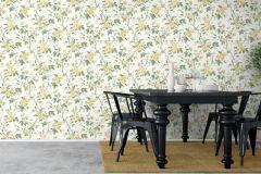 7213 cikkszámú tapéta.Különleges felületű,rajzolt,természeti mintás,virágmintás,sárga,vajszín,zöld,lemosható,vlies tapéta