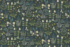 7214 cikkszámú tapéta.Különleges felületű,rajzolt,természeti mintás,virágmintás,kék,sárga,vajszín,zöld,lemosható,vlies tapéta