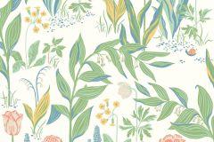 7218 cikkszámú tapéta.Különleges felületű,rajzolt,természeti mintás,virágmintás,kék,narancs-terrakotta,sárga,zöld,fehér,lemosható,vlies tapéta