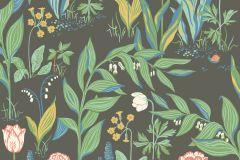 7219 cikkszámú tapéta.Különleges felületű,rajzolt,természeti mintás,virágmintás,barna,fehér,kék,narancs-terrakotta,zöld,lemosható,vlies tapéta