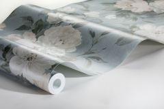 7223 cikkszámú tapéta.Különleges felületű,rajzolt,természeti mintás,virágmintás,bézs-drapp,ezüst,kék,zöld,lemosható,vlies tapéta