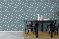 7228 cikkszámú tapéta.Különleges felületű,rajzolt,természeti mintás,virágmintás,kék,vajszín,lemosható,vlies tapéta