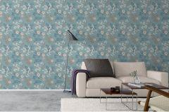 7232 cikkszámú tapéta.Különleges felületű,rajzolt,természeti mintás,virágmintás,bézs-drapp,bronz,kék,zöld,lemosható,vlies tapéta