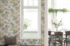 7235 cikkszámú tapéta.Különleges felületű,rajzolt,természeti mintás,virágmintás,fehér,kék,narancs-terrakotta,sárga,szürke,zöld,lemosható,vlies tapéta