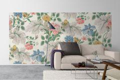 7236 cikkszámú tapéta.Különleges felületű,rajzolt,természeti mintás,virágmintás,kék,narancs-terrakotta,sárga,szürke,vajszín,zöld,vlies panel, fotótapéta
