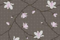5451 cikkszámú tapéta.Természeti mintás,virágmintás,barna,fehér,pink-rózsaszín,lemosható,vlies tapéta