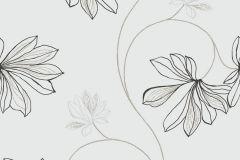 5458 cikkszámú tapéta.Természeti mintás,virágmintás,barna,fehér,fekete,szürke,gyengén mosható,vlies tapéta