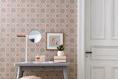 5464 cikkszámú tapéta.Geometriai mintás,retro,virágmintás,fehér,narancs-terrakotta,pink-rózsaszín,türkiz,lemosható,vlies tapéta