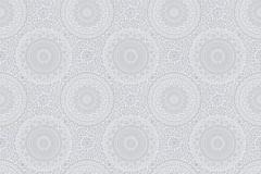 5465 cikkszámú tapéta.Geometriai mintás,retro,virágmintás,fehér,szürke,lemosható,vlies tapéta