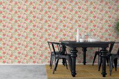 5466 cikkszámú tapéta.Retro,természeti mintás,virágmintás,fehér,narancs-terrakotta,pink-rózsaszín,piros-bordó,zöld,lemosható,vlies tapéta