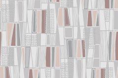 5471 cikkszámú tapéta.Absztrakt,geometriai mintás,retro,barna,bézs-drapp,piros-bordó,szürke,lemosható,vlies tapéta