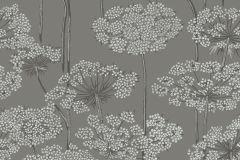 5477 cikkszámú tapéta.Retro,természeti mintás,virágmintás,szürke,lemosható,vlies tapéta