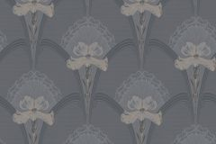 5492 cikkszámú tapéta.Geometriai mintás,rajzolt,virágmintás,barna,bézs-drapp,szürke,lemosható,vlies tapéta