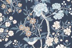 1855 cikkszámú tapéta.állatok,rajzolt,retro,tájkép,természeti mintás,virágmintás,fehér,kék,narancs-terrakotta,szürke,gyengén mosható,vlies tapéta