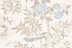 1856 cikkszámú tapéta.állatok,rajzolt,retro,tájkép,természeti mintás,virágmintás,barna,bézs-drapp,fehér,kék,szürke,vajszín,gyengén mosható,vlies tapéta