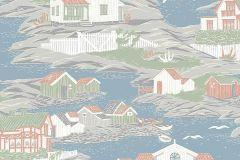 8850 cikkszámú tapéta.Különleges felületű,különleges motívumos,rajzolt,természeti mintás,barna,kék,narancs-terrakotta,szürke,zöld,lemosható,vlies tapéta