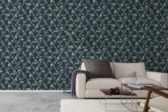 8851 cikkszámú tapéta.Különleges felületű,rajzolt,természeti mintás,virágmintás,kék,sárga,zöld,lemosható,vlies tapéta