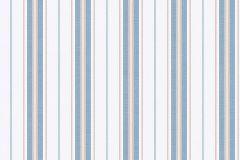 8874 cikkszámú tapéta.Csíkos,különleges felületű,fehér,kék,narancs-terrakotta,lemosható,illesztés mentes,vlies tapéta