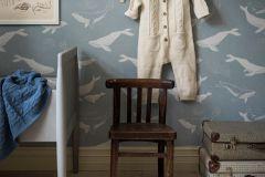 7453 cikkszámú tapéta.állatok,gyerek,rajzolt,fehér,kék,lemosható,vlies tapéta