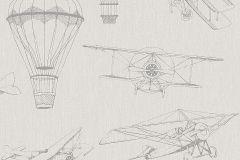 7455 cikkszámú tapéta.Gyerek,különleges motívumos,rajzolt,retro,bézs-drapp,szürke,lemosható,vlies tapéta