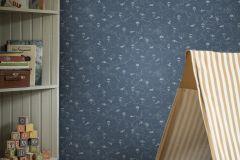 7458 cikkszámú tapéta.Gyerek,különleges motívumos,rajzolt,kék,szürke,lemosható,vlies tapéta