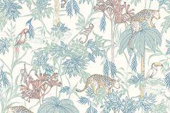 7462 cikkszámú tapéta.állatok,rajzolt,tájkép,természeti mintás,barna,kék,narancs-terrakotta,sárga,vajszín,lemosható,vlies tapéta