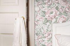 7469 cikkszámú tapéta.Barokk-klasszikus,gyerek,rajzolt,természeti mintás,virágmintás,pink-rózsaszín,piros-bordó,szürke,zöld,lemosható,vlies tapéta