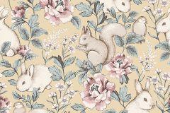 7475 cikkszámú tapéta.állatok,gyerek,rajzolt,természeti mintás,virágmintás,bézs-drapp,sárga,lemosható,vlies tapéta