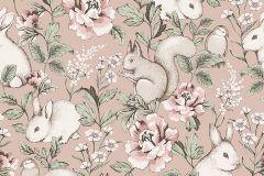 7476 cikkszámú tapéta.állatok,gyerek,rajzolt,természeti mintás,bézs-drapp,pink-rózsaszín,piros-bordó,lemosható,vlies tapéta