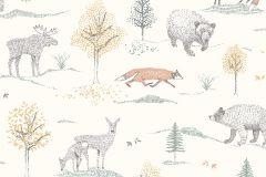 7479 cikkszámú tapéta.állatok,gyerek,rajzolt,természeti mintás,fehér,sárga,szürke,zöld,lemosható,vlies tapéta