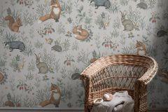 7480 cikkszámú tapéta.állatok,gyerek,rajzolt,tájkép,természeti mintás,narancs-terrakotta,szürke,zöld,lemosható,vlies poszter, fotótapéta